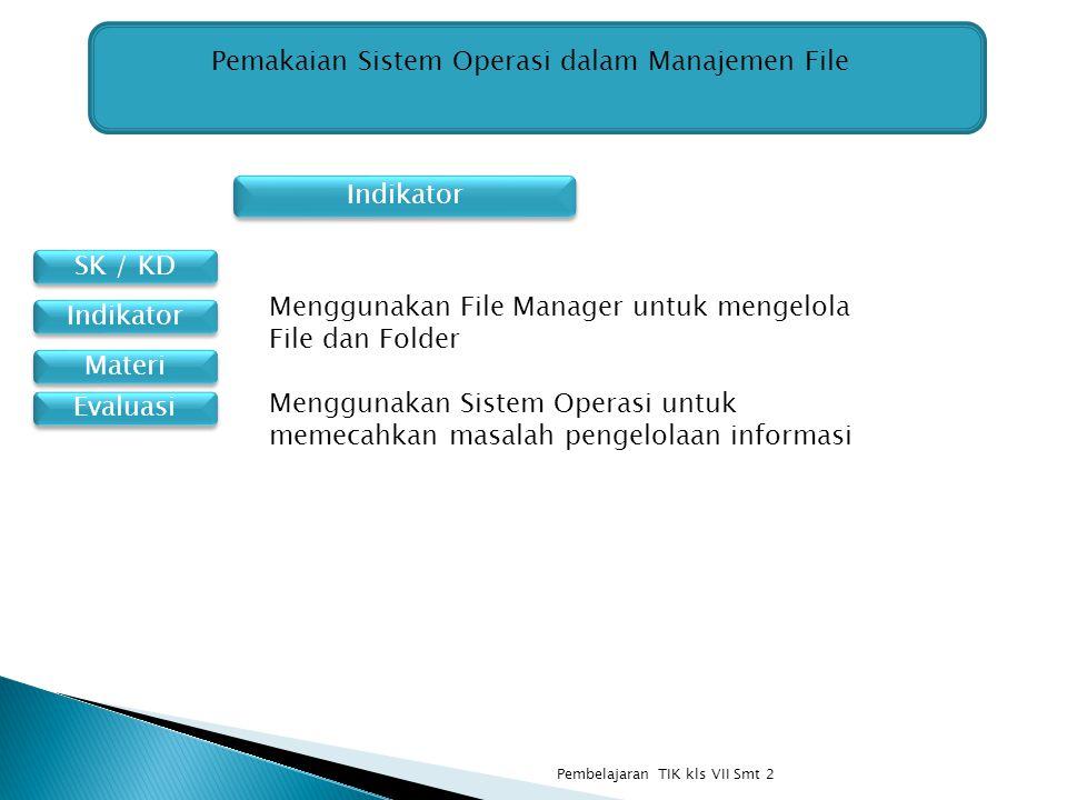 SK / KD Materi Indikator Pemakaian Sistem Operasi dalam Manajemen File Menggunakan File Manager untuk mengelola File dan Folder Menggunakan Sistem Ope