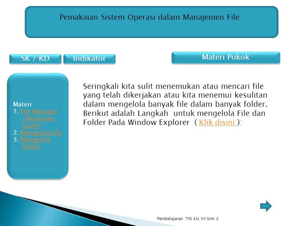 SK / KD Materi 1. File Manager /Windrowa ExplorFile Manager /Windrowa Explor 2. Mengelola FileMengelola File 3. Mengelola FolderMengelola Folder Mater