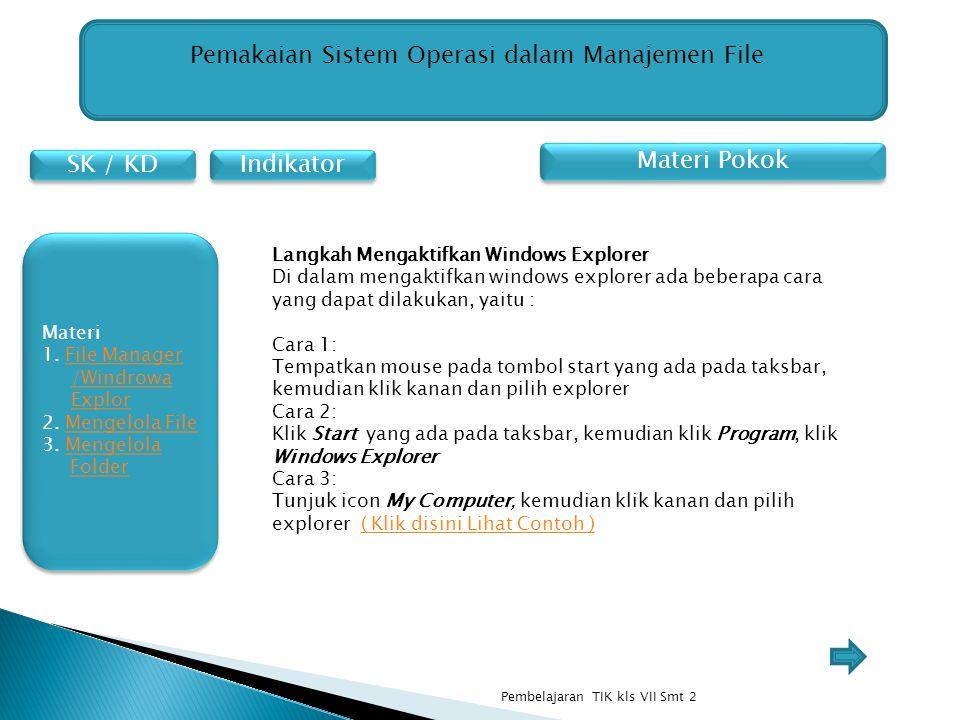 SK / KD Indikator Pemakaian Sistem Operasi dalam Manajemen File Materi Pokok Langkah Mengaktifkan Windows Explorer Di dalam mengaktifkan windows explo