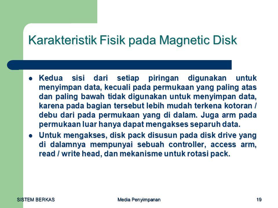 SISTEM BERKAS Media Penyimpanan 19 Karakteristik Fisik pada Magnetic Disk  Kedua sisi dari setiap piringan digunakan untuk menyimpan data, kecuali pa