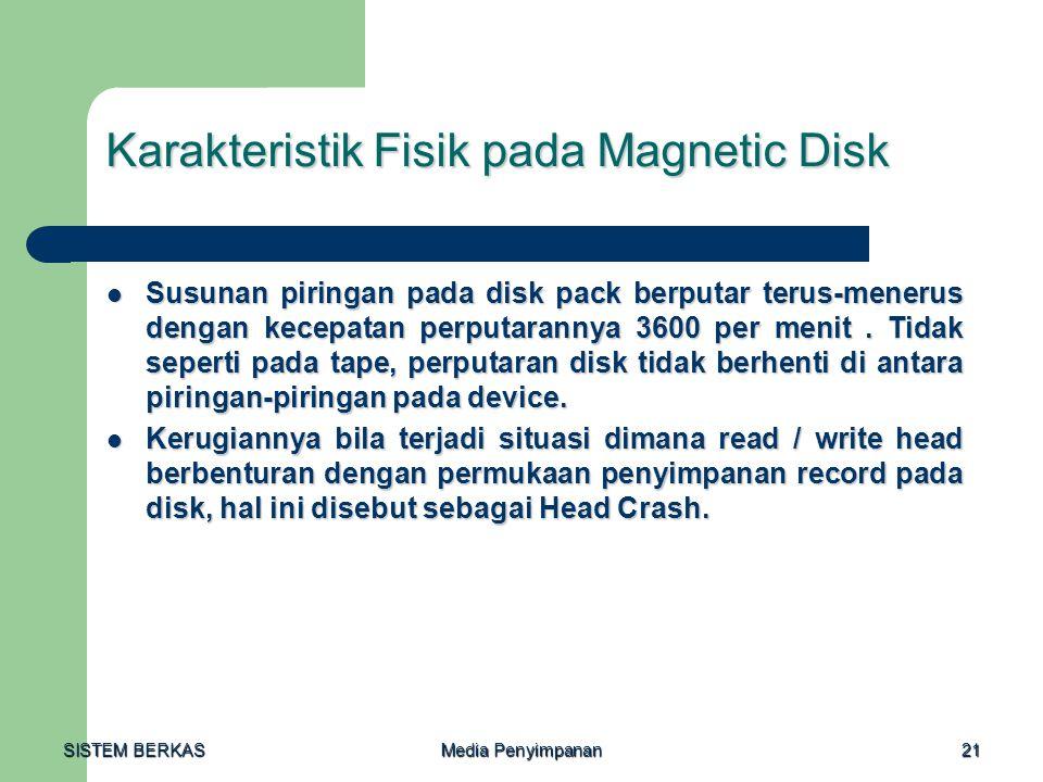 SISTEM BERKAS Media Penyimpanan 21 Karakteristik Fisik pada Magnetic Disk  Susunan piringan pada disk pack berputar terus-menerus dengan kecepatan pe