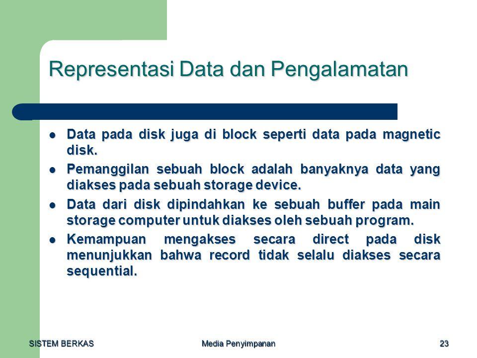 SISTEM BERKAS Media Penyimpanan 23 Representasi Data dan Pengalamatan  Data pada disk juga di block seperti data pada magnetic disk.  Pemanggilan se