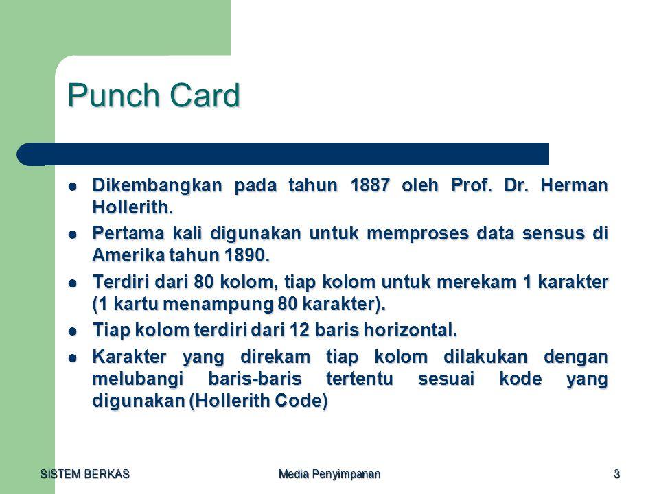 SISTEM BERKAS Media Penyimpanan 3 Punch Card  Dikembangkan pada tahun 1887 oleh Prof. Dr. Herman Hollerith.  Pertama kali digunakan untuk memproses
