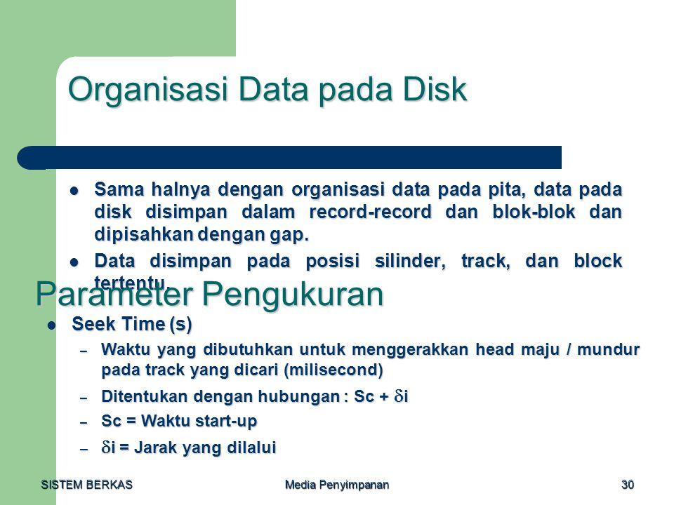 SISTEM BERKAS Media Penyimpanan 30 Organisasi Data pada Disk  Sama halnya dengan organisasi data pada pita, data pada disk disimpan dalam record-reco