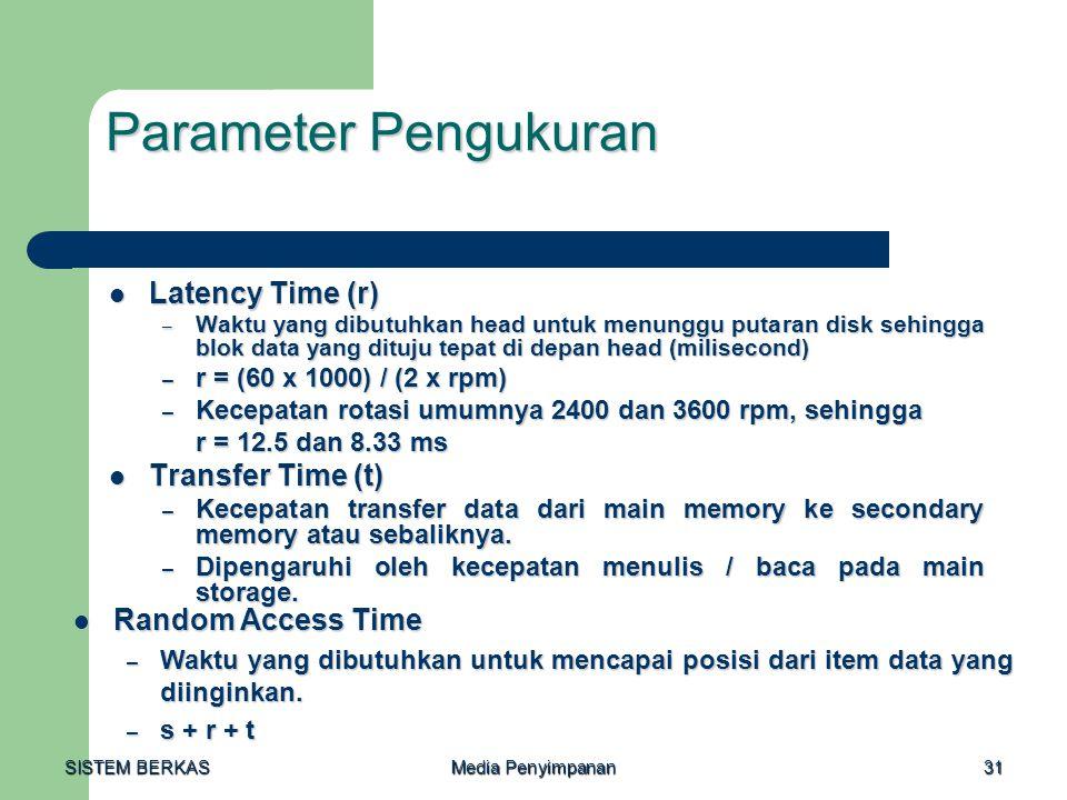 SISTEM BERKAS Media Penyimpanan 31 Parameter Pengukuran  Latency Time (r) – Waktu yang dibutuhkan head untuk menunggu putaran disk sehingga blok data