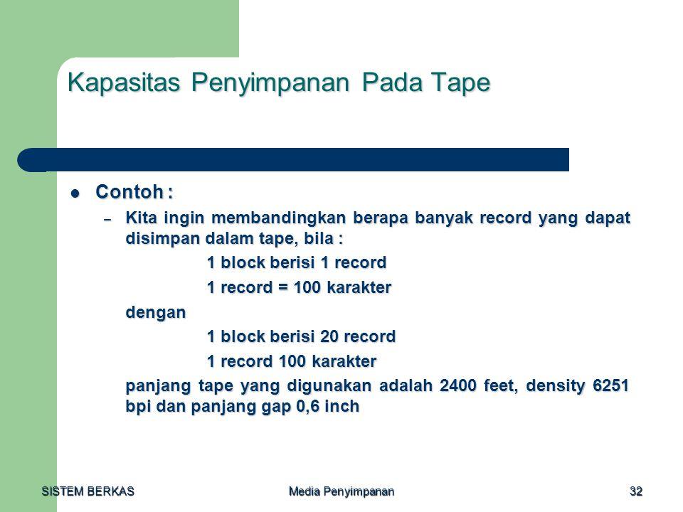 SISTEM BERKAS Media Penyimpanan 32 Kapasitas Penyimpanan Pada Tape  Contoh : – Kita ingin membandingkan berapa banyak record yang dapat disimpan dala