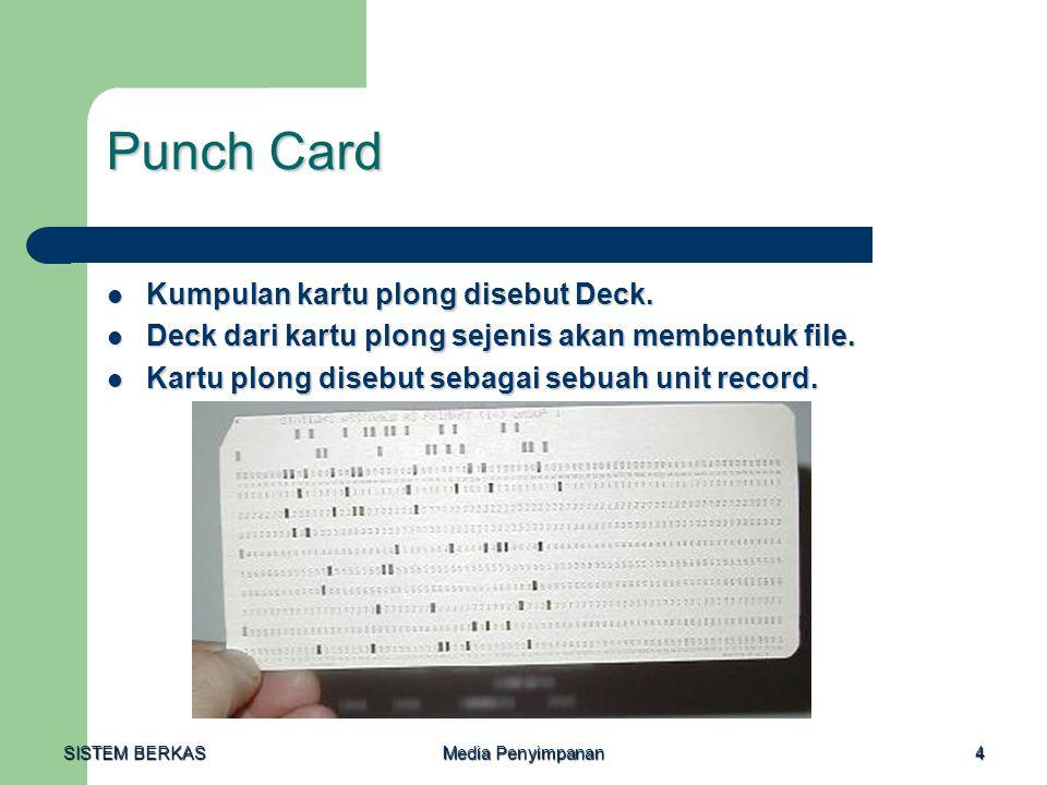 SISTEM BERKAS Media Penyimpanan 4 Punch Card  Kumpulan kartu plong disebut Deck.  Deck dari kartu plong sejenis akan membentuk file.  Kartu plong d
