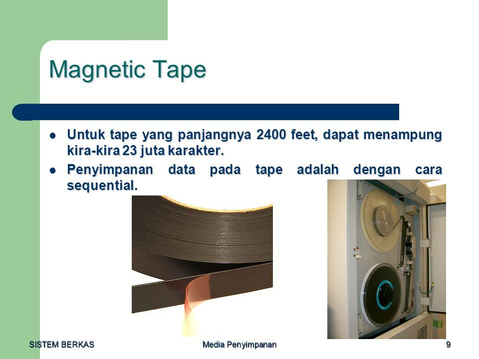 SISTEM BERKAS Media Penyimpanan 9 Magnetic Tape  Untuk tape yang panjangnya 2400 feet, dapat menampung kira-kira 23 juta karakter.  Penyimpanan data