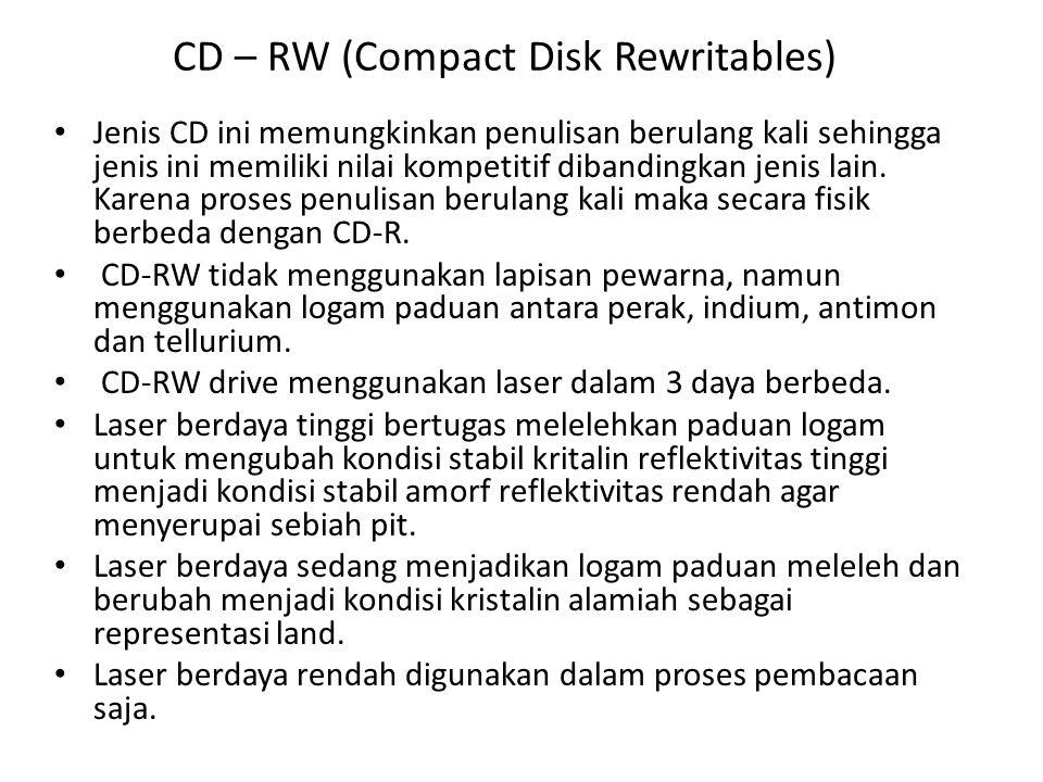 Lanjutan DVD (Digital Versatile Disk, awalnya Digital Video Disk) • Pengembangan CD untuk memenuhi kebutuhan pasar dalam penyimpanan memori besar • Desain DVD sama dengan CD biasa, terbuat dari polikarbonat 1,2 mm yang berisi pit dan land, disinari dioda laser dan dibaca oleh foto-detektor • DVD lebih besar kapasitasnya, yaitu untuk sisi tunggal dan berlapis tunggal 4,7 GB, sedangkan untuk berlapis ganda ataupun bersisi ganda akan lebih besar lagi • Hal yang baru : – Pit – pit lebih kecil (0,4 mikron, atau setengahnya CD biasa) – Spiral lebih rapat (0,74 mikron, sedangkan pada CD biasa 1,6 mikron) – Menggunakan teknologi laser merah dengan ukuran 0,65 mikron, sedangkan pada CD biasa 0,78 mikron.