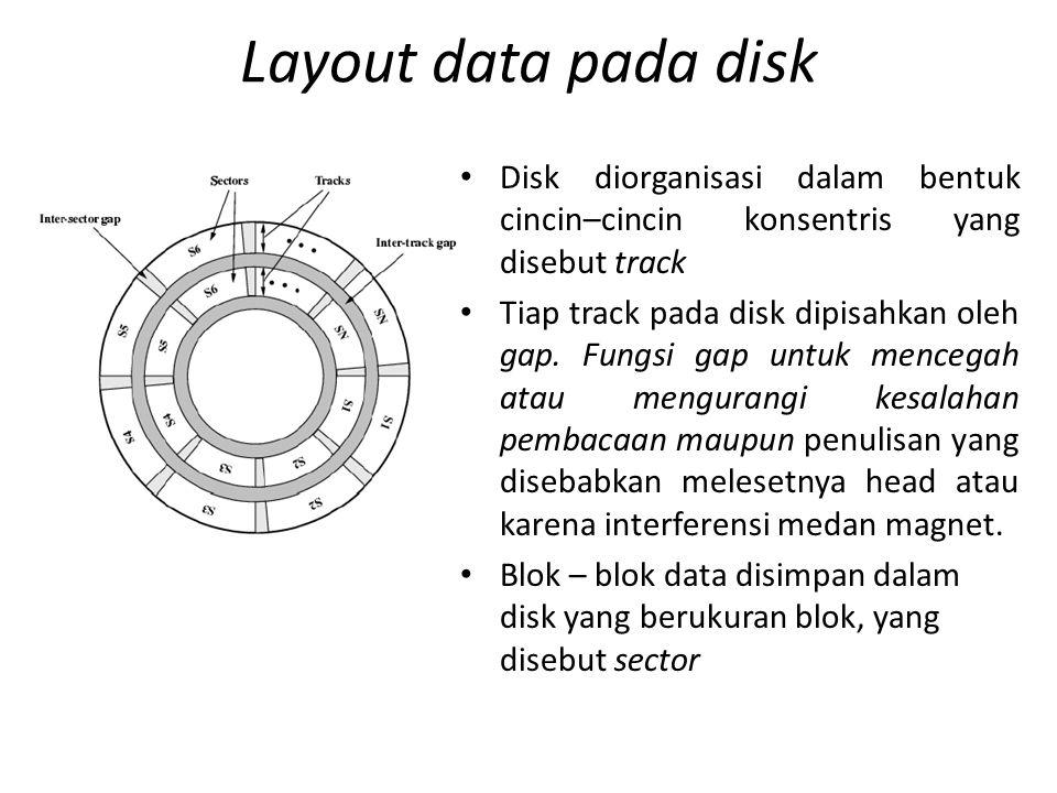Karakteristik Magnetik Disk 1.Berdasarkan gerakan head, terdapat dua macam jenis yaitu head tetap (fixed head) dan head bergerak (movable head) seperti terlihat pada gambar 2.berdasar portabilitasnya dibagi menjadi disk yang tetap (nonremovable disk) dan disk yang dapat dipindah (removable disk).