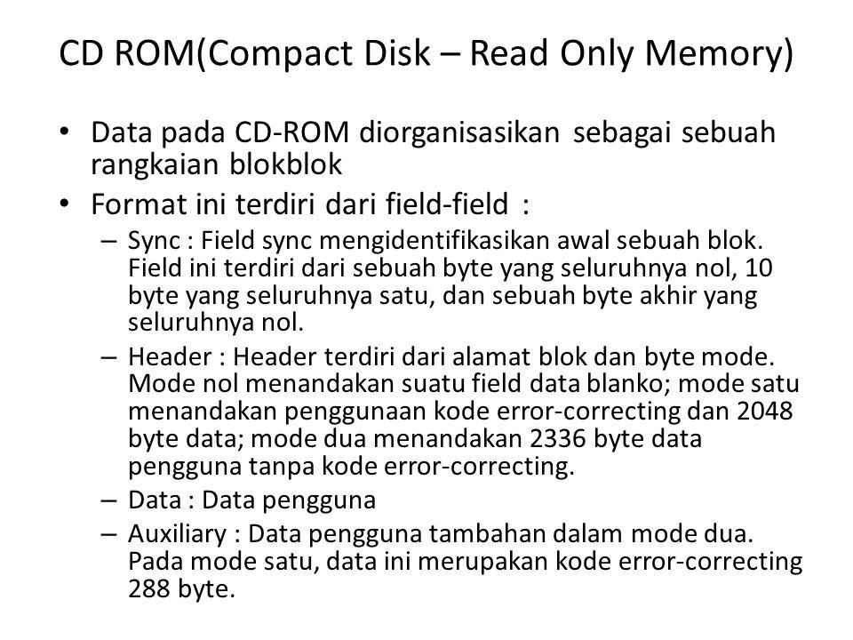 CD ROM(Compact Disk – Read Only Memory) • Sistem file CD-ROM yang standar, di High Sierras (perbatasan California – Nevada) dikenal dengan sebutan High Sierra (IS 9660).