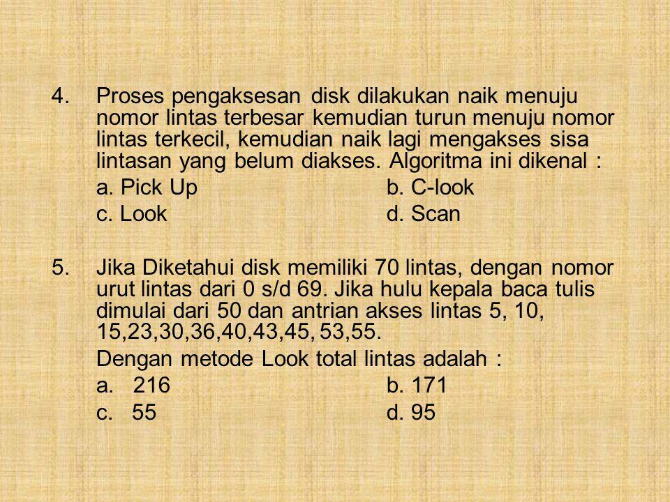 3.Proses pengaksesan disk dilakukan saat hanya naik menuju track terbesar dari disk, ketika turun akan menuju track terkecil dari disk sambil mengakse