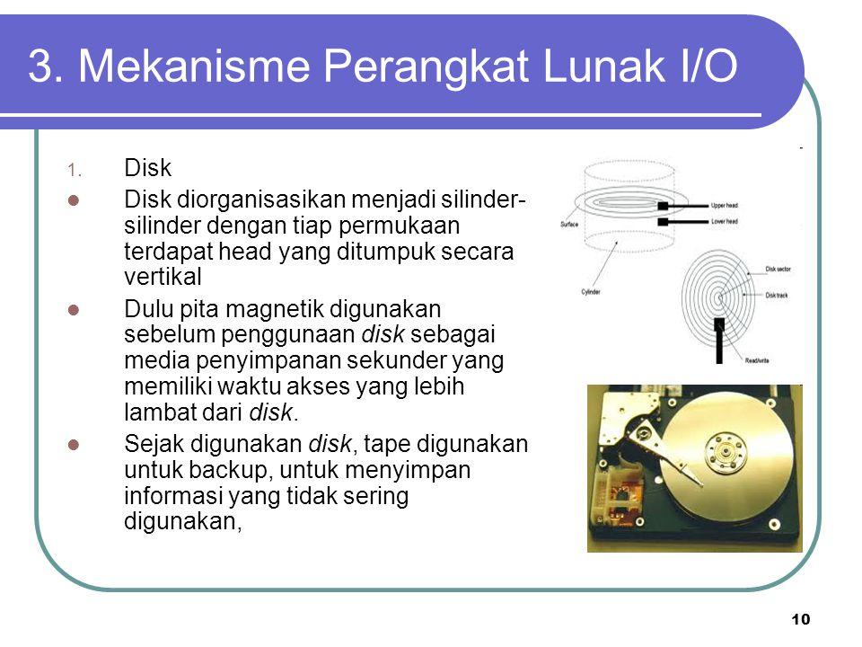 10 3. Mekanisme Perangkat Lunak I/O 1. Disk  Disk diorganisasikan menjadi silinder- silinder dengan tiap permukaan terdapat head yang ditumpuk secara