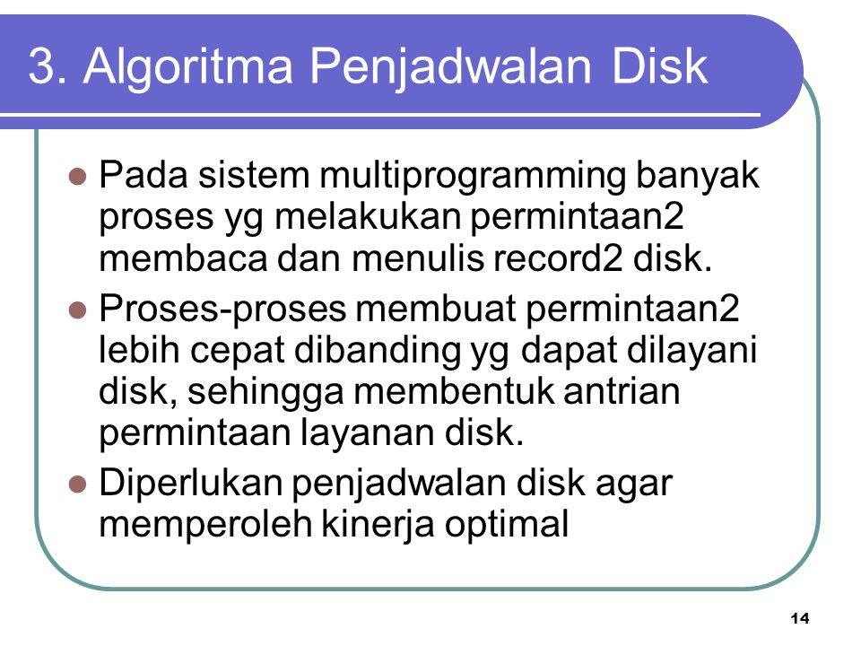 14 3. Algoritma Penjadwalan Disk  Pada sistem multiprogramming banyak proses yg melakukan permintaan2 membaca dan menulis record2 disk.  Proses-pros