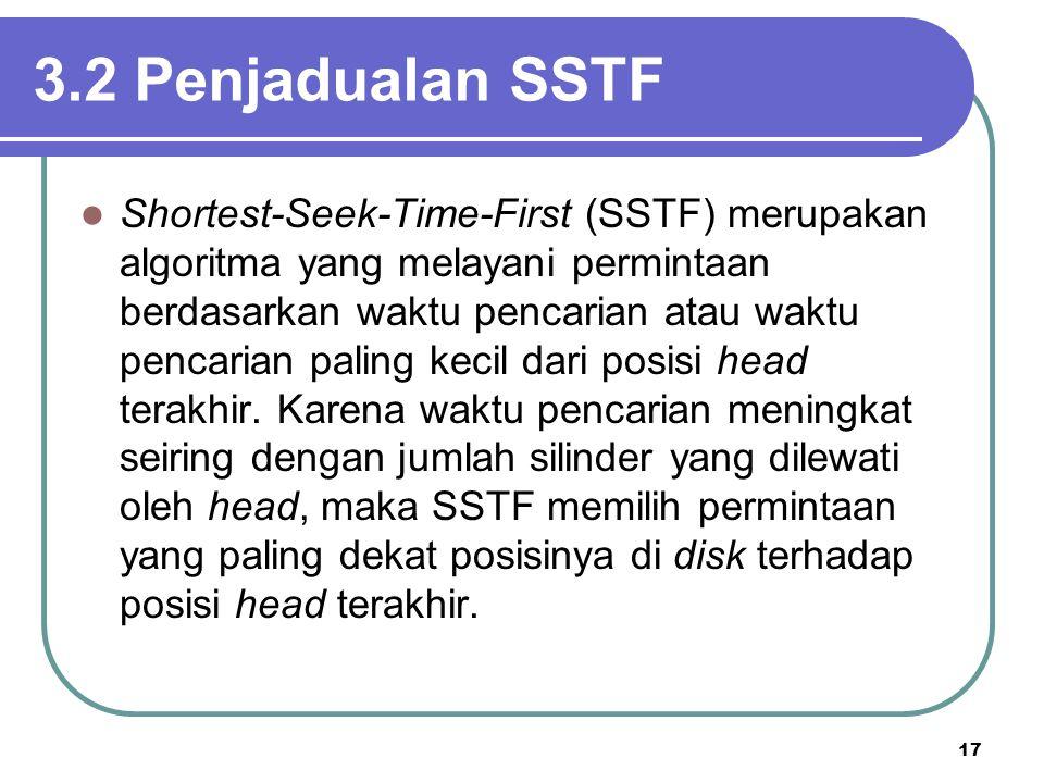 17 3.2 Penjadualan SSTF  Shortest-Seek-Time-First (SSTF) merupakan algoritma yang melayani permintaan berdasarkan waktu pencarian atau waktu pencaria
