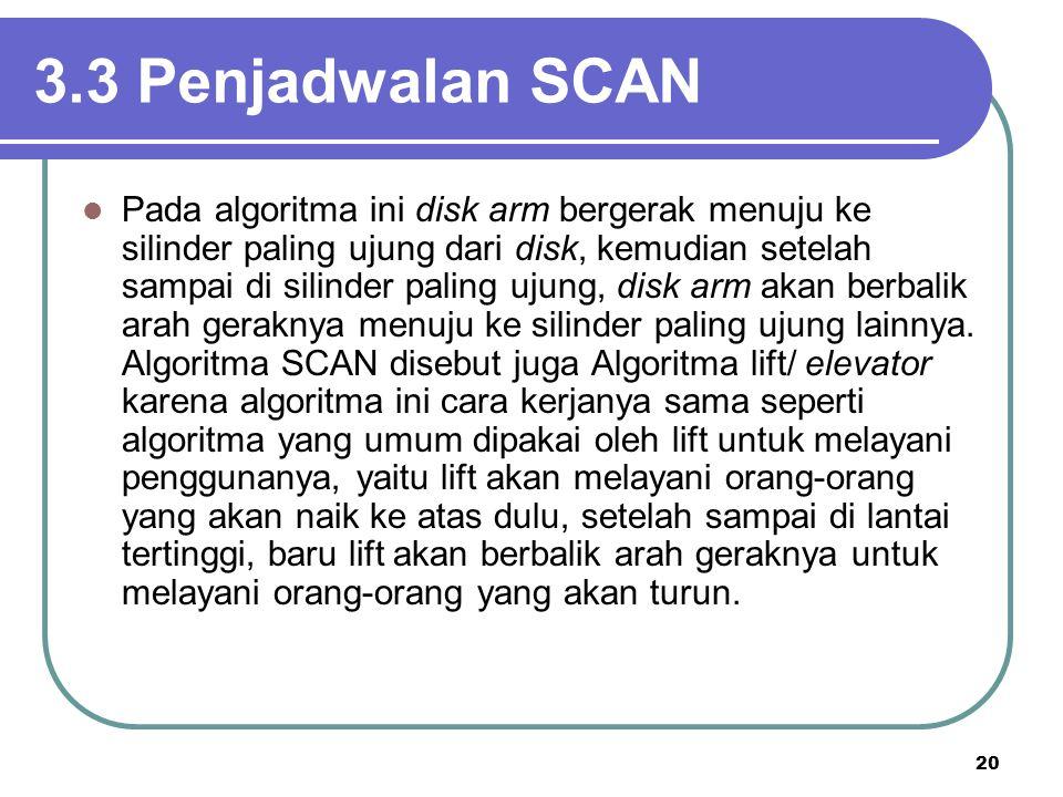 20 3.3 Penjadwalan SCAN  Pada algoritma ini disk arm bergerak menuju ke silinder paling ujung dari disk, kemudian setelah sampai di silinder paling u