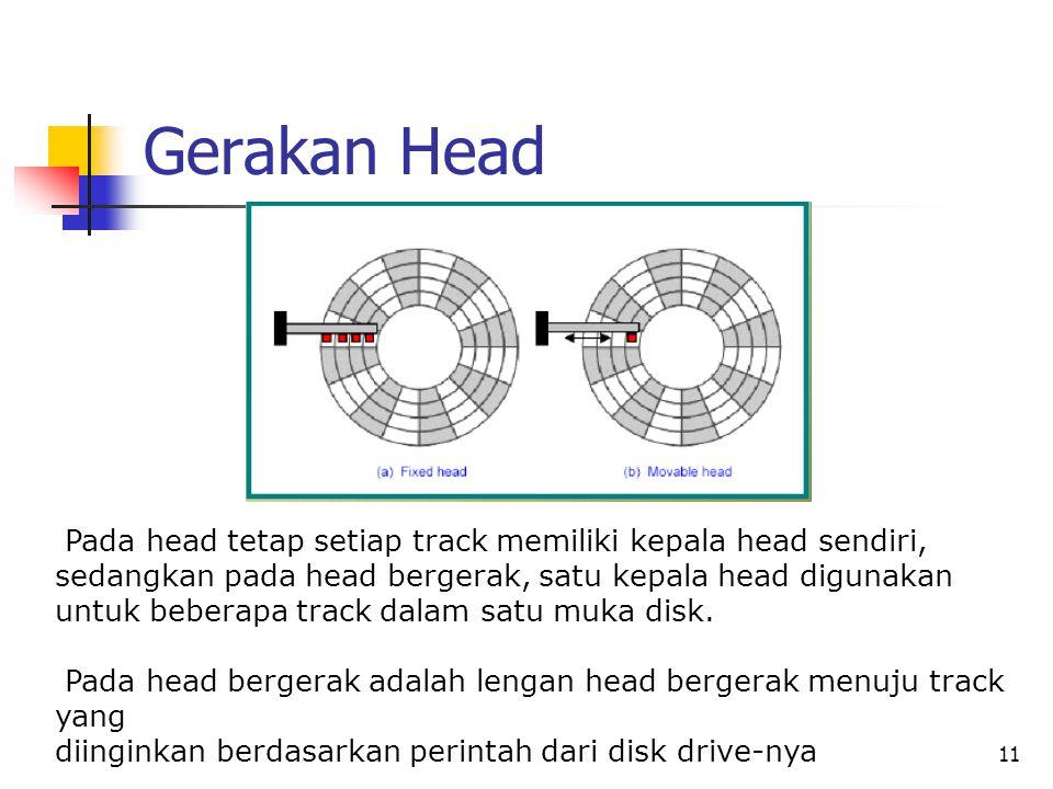 11 Gerakan Head Pada head tetap setiap track memiliki kepala head sendiri, sedangkan pada head bergerak, satu kepala head digunakan untuk beberapa track dalam satu muka disk.