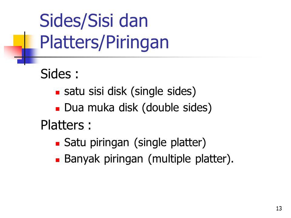 13 Sides/Sisi dan Platters/Piringan Sides :  satu sisi disk (single sides)  Dua muka disk (double sides) Platters :  Satu piringan (single platter)  Banyak piringan (multiple platter).