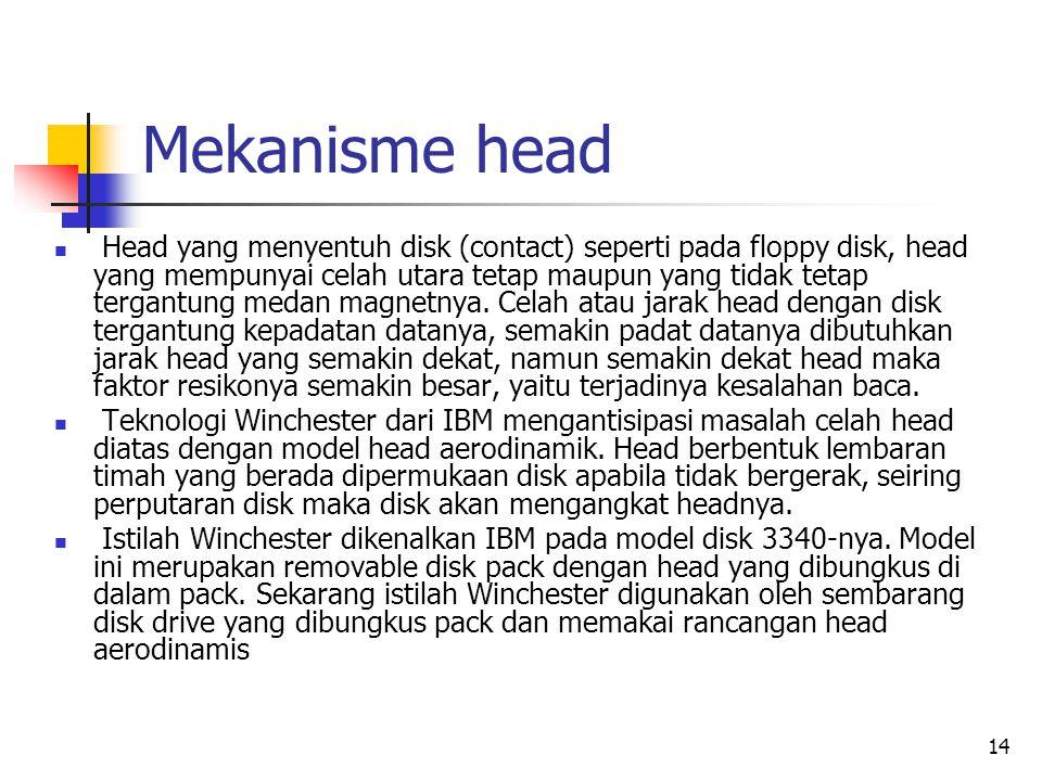 14 Mekanisme head  Head yang menyentuh disk (contact) seperti pada floppy disk, head yang mempunyai celah utara tetap maupun yang tidak tetap tergantung medan magnetnya.