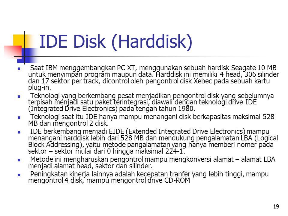 19 IDE Disk (Harddisk)  Saat IBM menggembangkan PC XT, menggunakan sebuah hardisk Seagate 10 MB untuk menyimpan program maupun data.