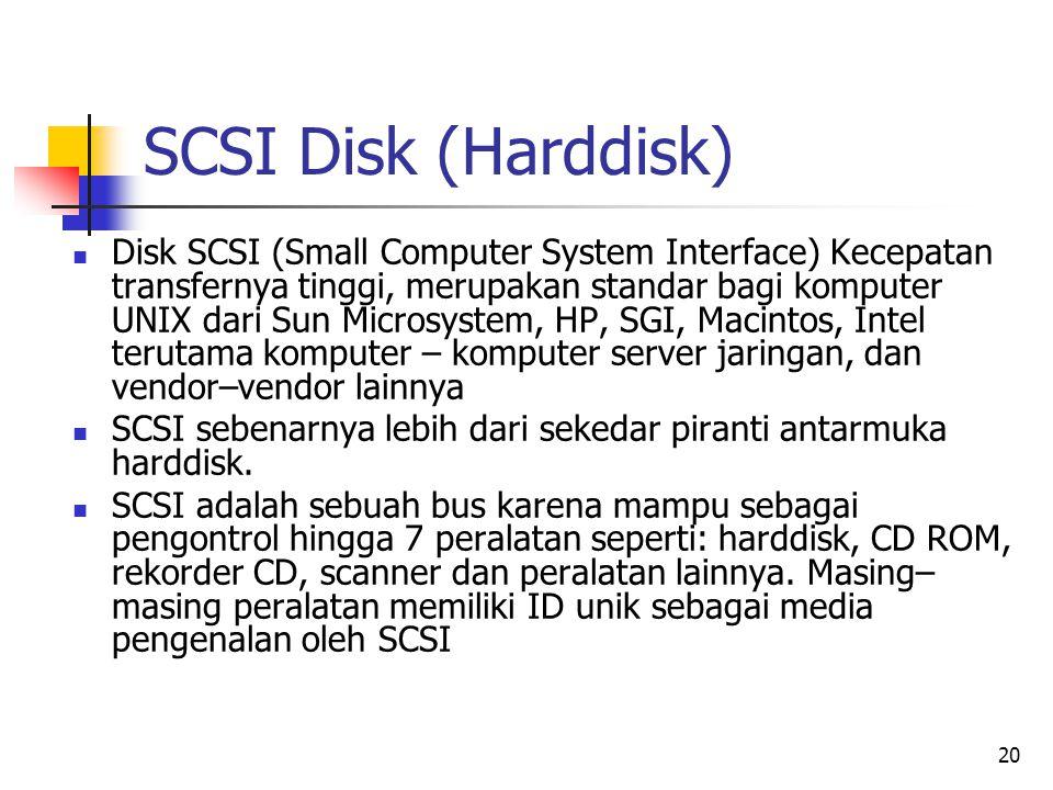 20 SCSI Disk (Harddisk)  Disk SCSI (Small Computer System Interface) Kecepatan transfernya tinggi, merupakan standar bagi komputer UNIX dari Sun Microsystem, HP, SGI, Macintos, Intel terutama komputer – komputer server jaringan, dan vendor–vendor lainnya  SCSI sebenarnya lebih dari sekedar piranti antarmuka harddisk.