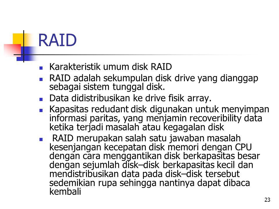 23 RAID  Karakteristik umum disk RAID  RAID adalah sekumpulan disk drive yang dianggap sebagai sistem tunggal disk.