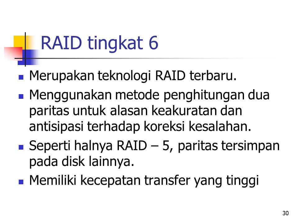 30 RAID tingkat 6  Merupakan teknologi RAID terbaru.