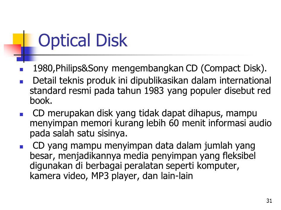 31 Optical Disk  1980,Philips&Sony mengembangkan CD (Compact Disk).