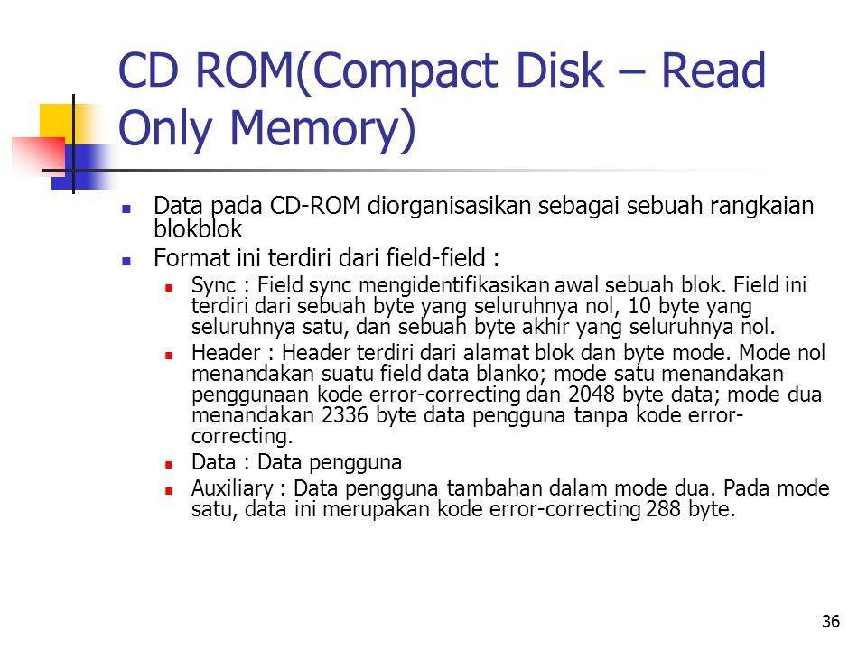 36 CD ROM(Compact Disk – Read Only Memory)  Data pada CD-ROM diorganisasikan sebagai sebuah rangkaian blokblok  Format ini terdiri dari field-field :  Sync : Field sync mengidentifikasikan awal sebuah blok.