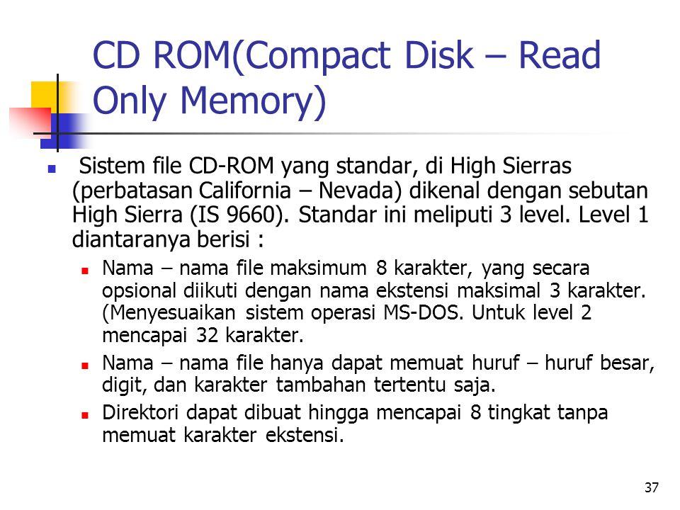 37 CD ROM(Compact Disk – Read Only Memory)  Sistem file CD-ROM yang standar, di High Sierras (perbatasan California – Nevada) dikenal dengan sebutan High Sierra (IS 9660).