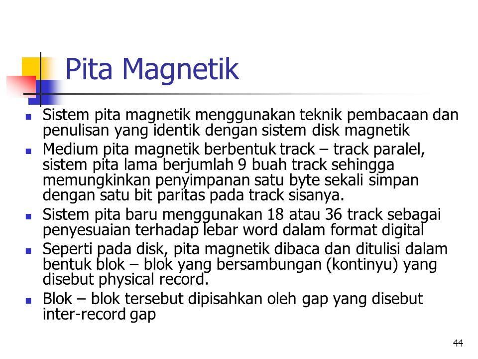 44 Pita Magnetik  Sistem pita magnetik menggunakan teknik pembacaan dan penulisan yang identik dengan sistem disk magnetik  Medium pita magnetik berbentuk track – track paralel, sistem pita lama berjumlah 9 buah track sehingga memungkinkan penyimpanan satu byte sekali simpan dengan satu bit paritas pada track sisanya.