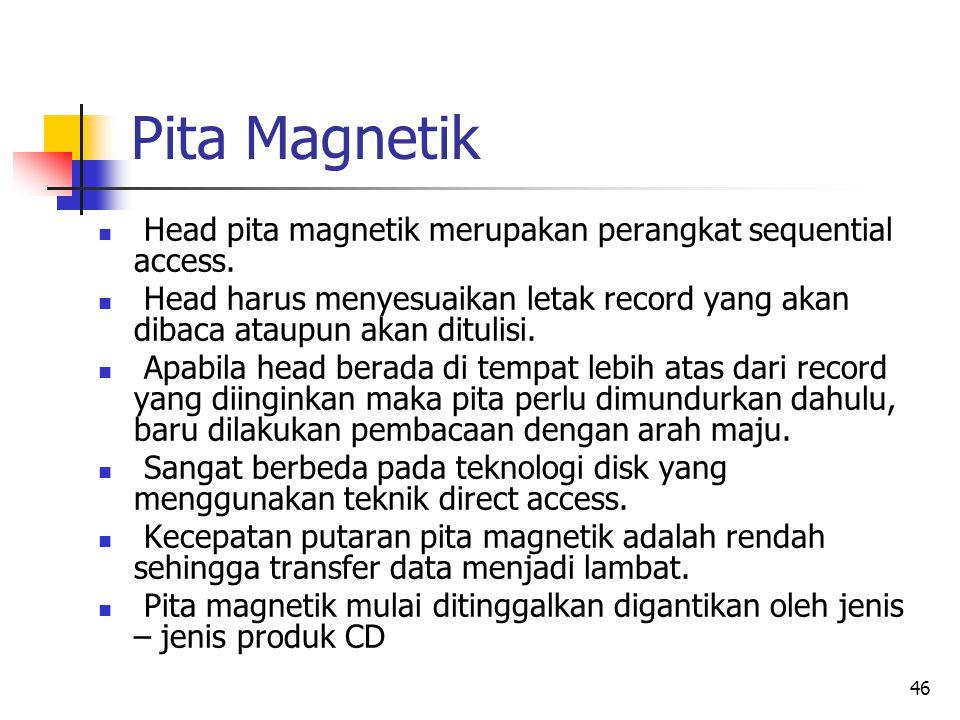 46 Pita Magnetik  Head pita magnetik merupakan perangkat sequential access.