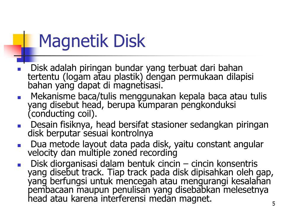 5 Magnetik Disk  Disk adalah piringan bundar yang terbuat dari bahan tertentu (logam atau plastik) dengan permukaan dilapisi bahan yang dapat di magnetisasi.