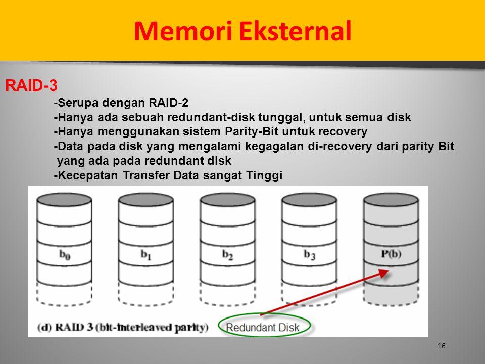 16 Memori Eksternal RAID-3 -Serupa dengan RAID-2 -Hanya ada sebuah redundant-disk tunggal, untuk semua disk -Hanya menggunakan sistem Parity-Bit untuk