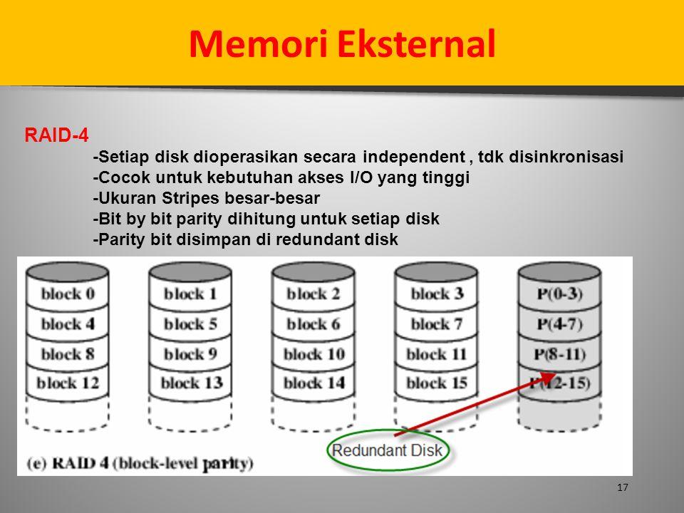 17 Memori Eksternal RAID-4 -Setiap disk dioperasikan secara independent, tdk disinkronisasi -Cocok untuk kebutuhan akses I/O yang tinggi -Ukuran Strip