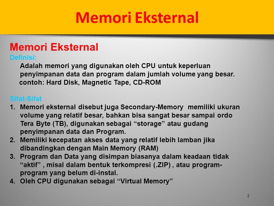 Memori Eksternal 2 Definisi: Adalah memori yang digunakan oleh CPU untuk keperluan penyimpanan data dan program dalam jumlah volume yang besar. contoh