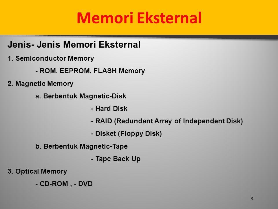 3 Memori Eksternal Jenis- Jenis Memori Eksternal 1. Semiconductor Memory - ROM, EEPROM, FLASH Memory 2. Magnetic Memory a. Berbentuk Magnetic-Disk - H