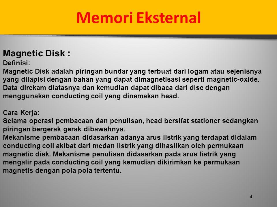 4 Memori Eksternal Magnetic Disk : Definisi: Magnetic Disk adalah piringan bundar yang terbuat dari logam atau sejenisnya yang dilapisi dengan bahan y