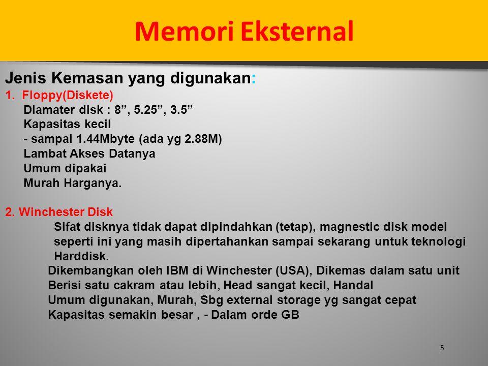 """5 Memori Eksternal Jenis Kemasan yang digunakan: 1. Floppy(Diskete) Diamater disk : 8"""", 5.25"""", 3.5"""" Kapasitas kecil - sampai 1.44Mbyte (ada yg 2.88M)"""