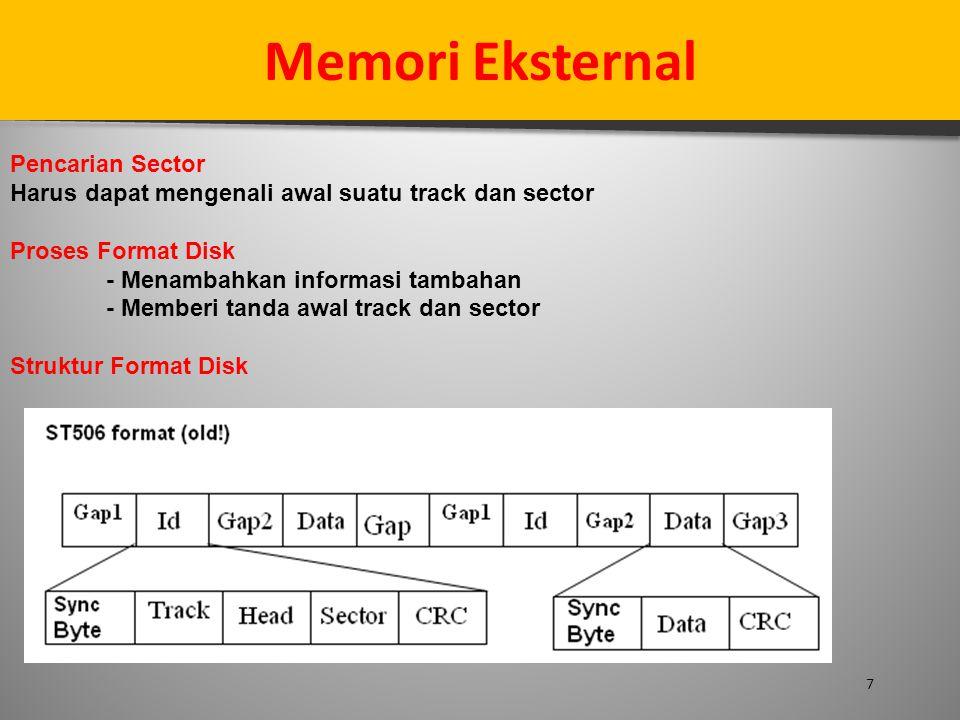 7 Memori Eksternal Pencarian Sector Harus dapat mengenali awal suatu track dan sector Proses Format Disk - Menambahkan informasi tambahan - Memberi ta
