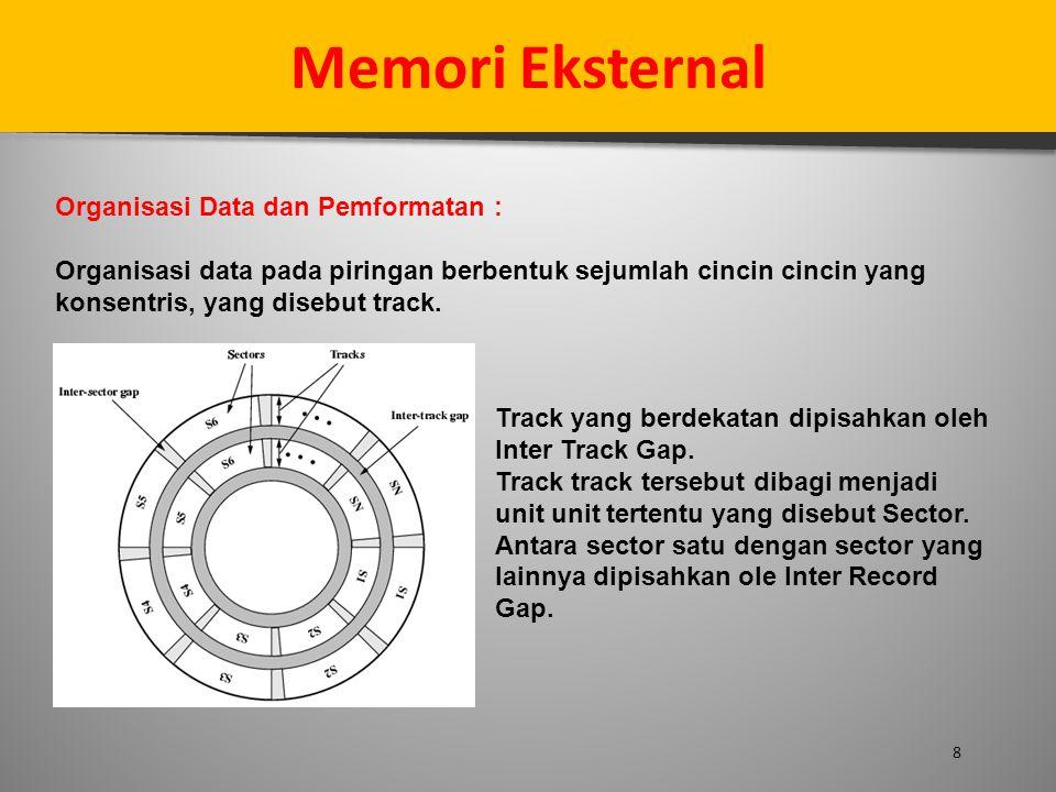 8 Memori Eksternal Organisasi Data dan Pemformatan : Organisasi data pada piringan berbentuk sejumlah cincin cincin yang konsentris, yang disebut trac