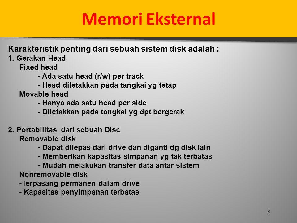 9 Memori Eksternal Karakteristik penting dari sebuah sistem disk adalah : 1. Gerakan Head Fixed head - Ada satu head (r/w) per track - Head diletakkan