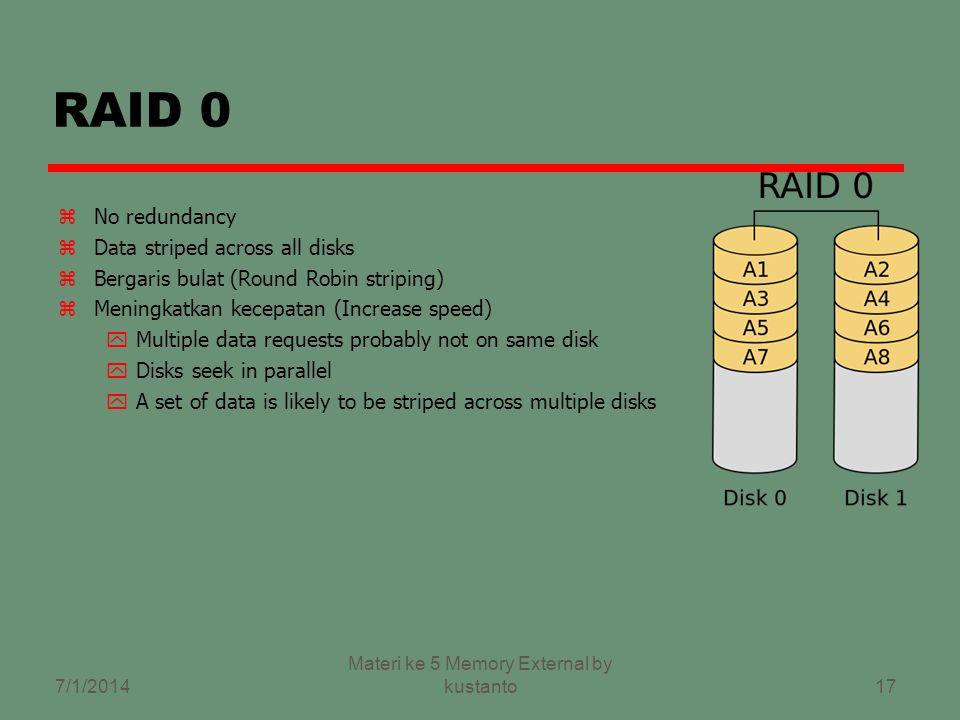16 RAID (Redundant Array of Independent Disks) zAda 6 level zTidak berhirarki zSejumlah disks (fisik) yg dipandang sbg satu drive (logical) oleh Sistem Operasi zData tersebar diantara disk fisik 7/1/2014 Materi ke 5 Memory External by kustanto