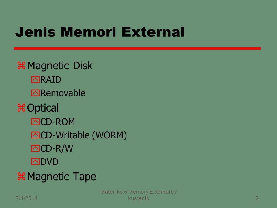 2 Jenis Memori External zMagnetic Disk yRAID yRemovable zOptical yCD-ROM yCD-Writable (WORM) yCD-R/W yDVD zMagnetic Tape 7/1/2014 Materi ke 5 Memory External by kustanto