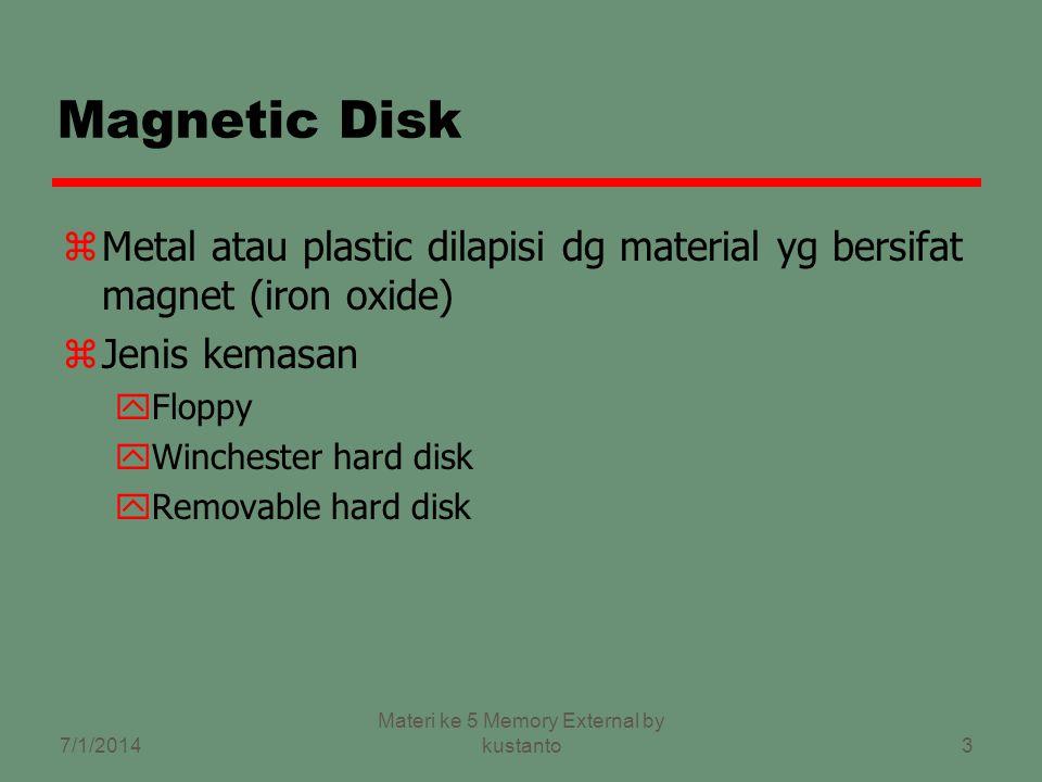 3 Magnetic Disk zMetal atau plastic dilapisi dg material yg bersifat magnet (iron oxide) zJenis kemasan yFloppy yWinchester hard disk yRemovable hard disk 7/1/2014 Materi ke 5 Memory External by kustanto