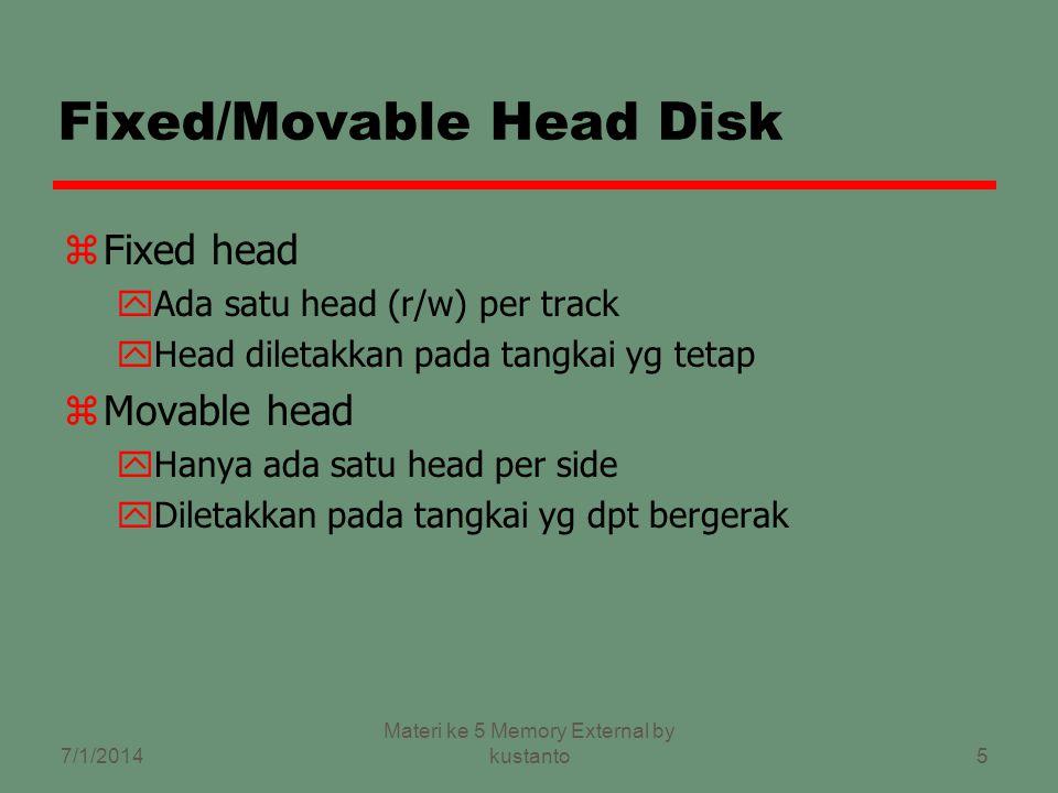 5 Fixed/Movable Head Disk zFixed head yAda satu head (r/w) per track yHead diletakkan pada tangkai yg tetap zMovable head yHanya ada satu head per side yDiletakkan pada tangkai yg dpt bergerak 7/1/2014 Materi ke 5 Memory External by kustanto