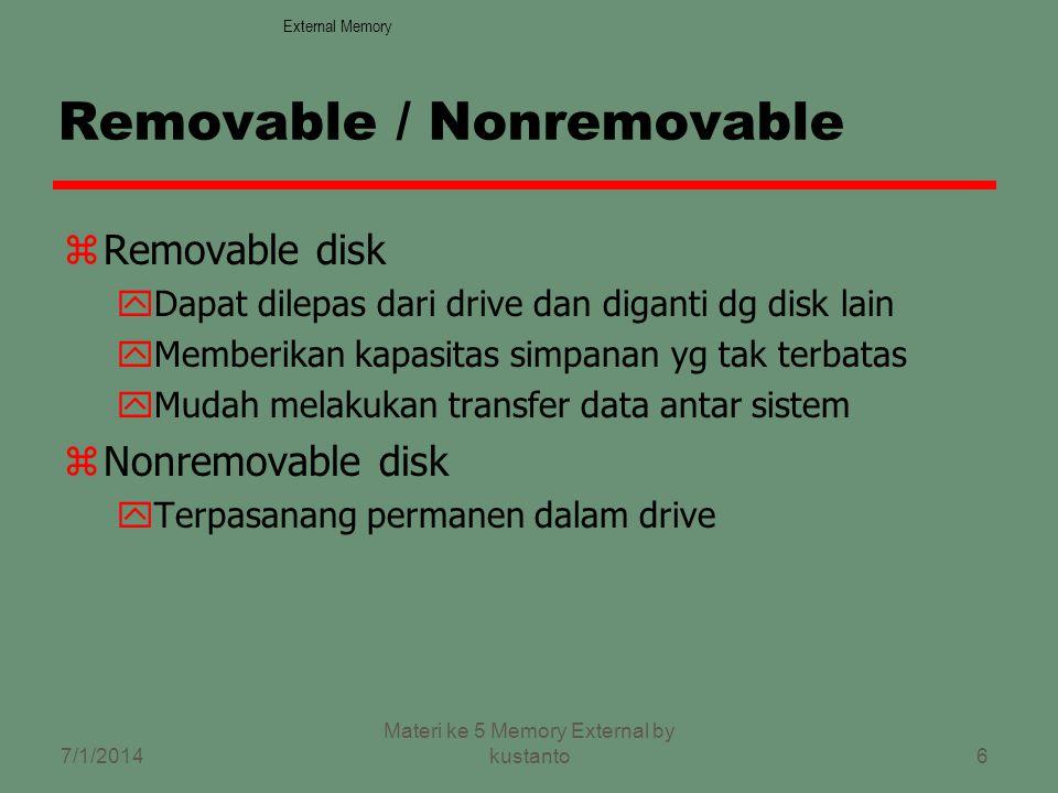 6 Removable / Nonremovable zRemovable disk yDapat dilepas dari drive dan diganti dg disk lain yMemberikan kapasitas simpanan yg tak terbatas yMudah melakukan transfer data antar sistem zNonremovable disk yTerpasanang permanen dalam drive External Memory 7/1/2014 Materi ke 5 Memory External by kustanto