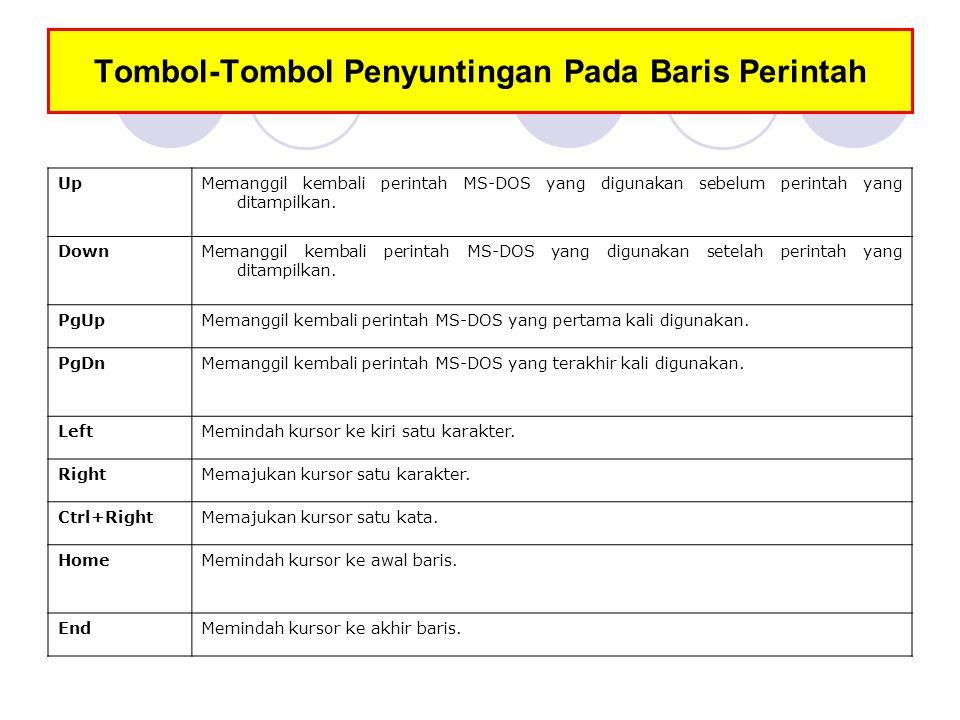 Tombol-Tombol Penyuntingan Pada Baris Perintah UpMemanggil kembali perintah MS-DOS yang digunakan sebelum perintah yang ditampilkan. DownMemanggil ke