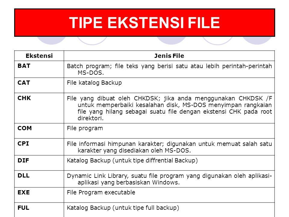 TIPE EKSTENSI FILE EkstensiJenis File BATBatch program; file teks yang berisi satu atau lebih perintah-perintah MS-DOS. CATFile katalog Backup CHKFile