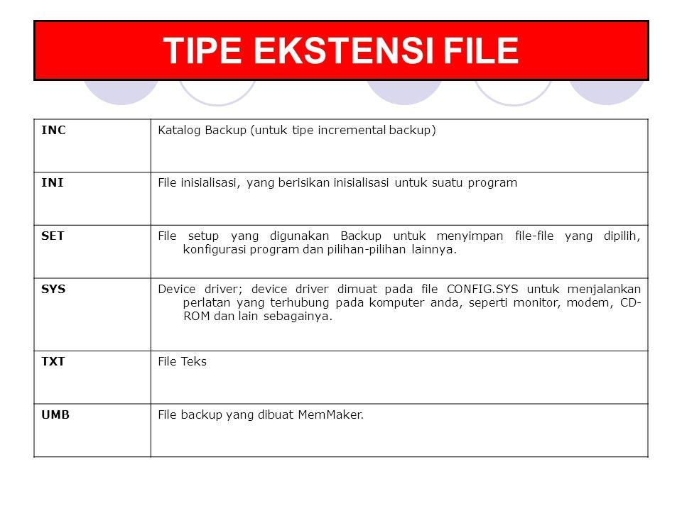 TIPE EKSTENSI FILE INCKatalog Backup (untuk tipe incremental backup) INIFile inisialisasi, yang berisikan inisialisasi untuk suatu program SETFile set
